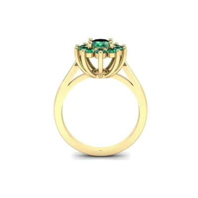 Lotus Oval Cluster Halo Emerald Ring (1.36 CTW) Side View