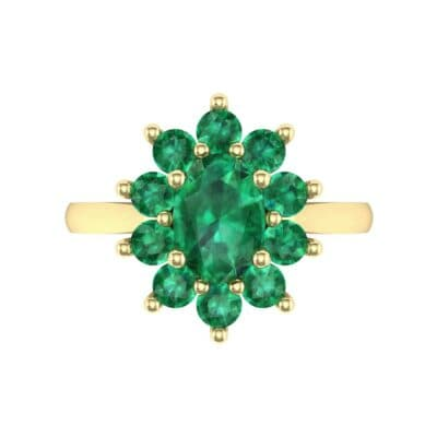 Lotus Oval Cluster Halo Emerald Ring (1.36 CTW) Top Flat View