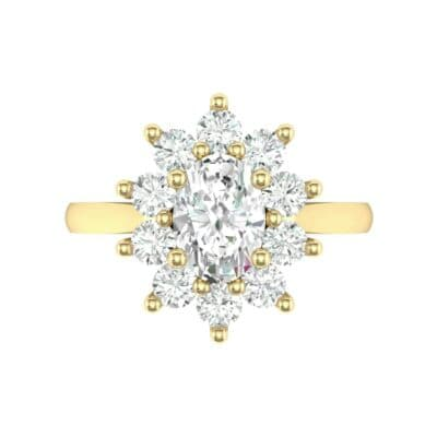 Lotus Oval Cluster Halo Diamond Ring (1.36 CTW) Top Flat View