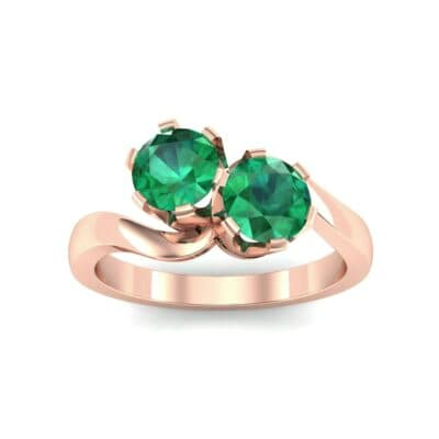 Two-Stone Emerald Bypass Engagement Ring (1 Carat)
