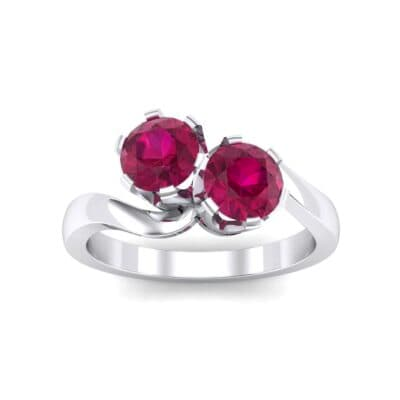 Two-Stone Ruby Bypass Engagement Ring (1 Carat)