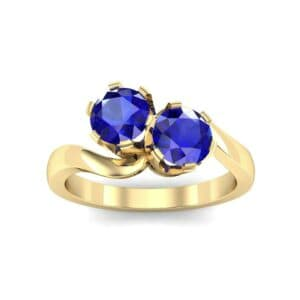Two-Stone Blue Sapphire Bypass Engagement Ring (1 Carat)