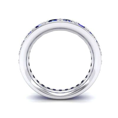 Round Brilliant Tapered Blue Sapphire Eternity Ring (1.98 CTW) Side View
