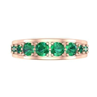 Round Brilliant Tapered Emerald Eternity Ring (1.98 CTW) Top Flat View