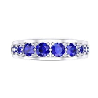 Round Brilliant Tapered Blue Sapphire Eternity Ring (1.98 CTW) Top Flat View
