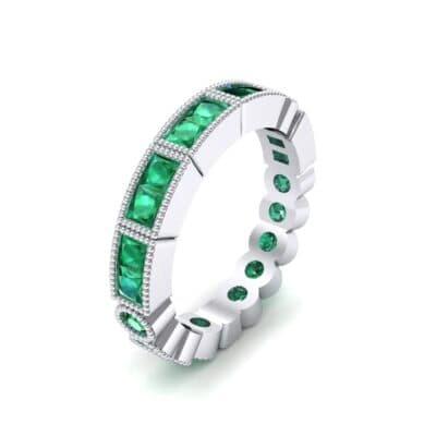 Lady Milgrain Bezel-Set Emerald Ring (1.5 CTW) Perspective View