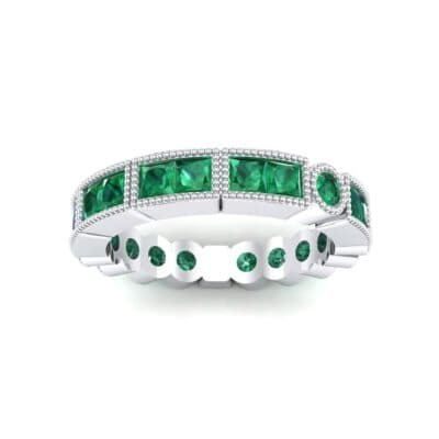 Lady Milgrain Bezel-Set Emerald Ring (1.5 CTW) Top Dynamic View