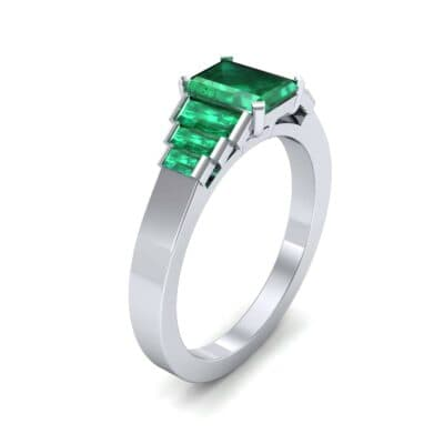 Stepped Baguette Emerald Engagement Ring (1.18 CTW)