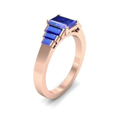 Stepped Baguette Blue Sapphire Engagement Ring (1.18 CTW)