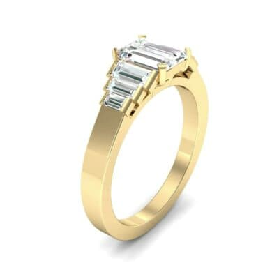 Stepped Baguette Diamond Engagement Ring (1.18 CTW) Perspective View