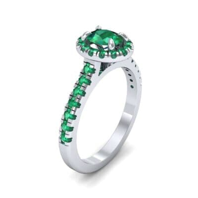 Oval Halo Emerald Engagement Ring (0.91 CTW)