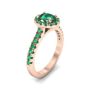 Oval Halo Emerald Engagement Ring (0.76 Carat)