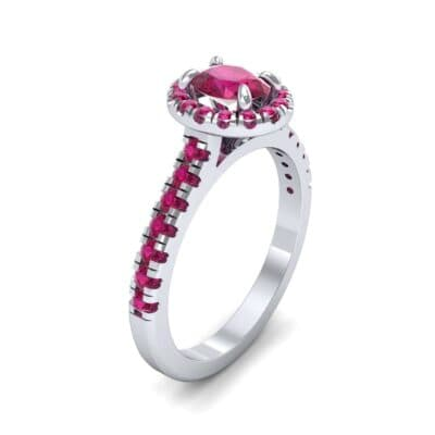 Oval Halo Ruby Engagement Ring (0.91 CTW)