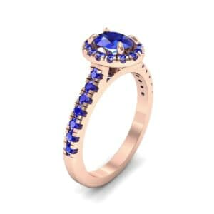 Oval Halo Blue Sapphire Engagement Ring (0.76 Carat)