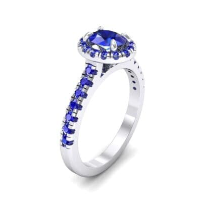 Oval Halo Blue Sapphire Engagement Ring (0.91 CTW)