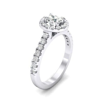 Oval Halo Crystal Engagement Ring (0.91 CTW)