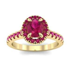 Oval Halo Ruby Engagement Ring (0.76 Carat)
