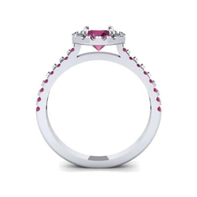Oval Halo Ruby Engagement Ring (0.91 CTW) Side View