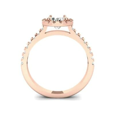 Oval Halo Diamond Engagement Ring (0.76 CTW) Side View