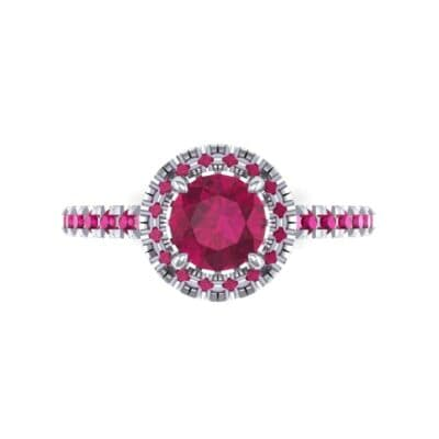 Oval Halo Ruby Engagement Ring (0.91 CTW) Top Flat View
