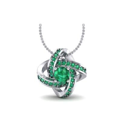 Lotus Oval Cluster Halo Emerald Pendant (1.82 Carat)