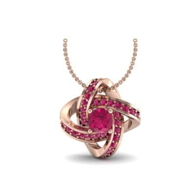 Lotus Oval Cluster Halo Ruby Pendant (1.82 Carat)
