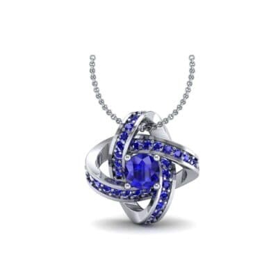 Lotus Oval Cluster Halo Blue Sapphire Pendant (1.82 Carat)