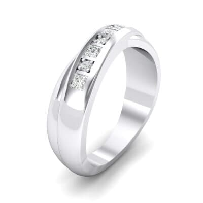 Overlapping Band Crystals Wedding Ring