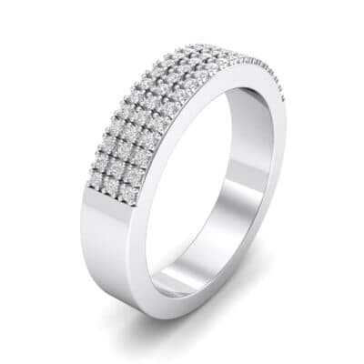 Flat Three-Row Micropave Crystals Ring