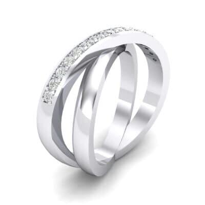 Half Pave Crisscross Crystals Ring (0.26 Carat)