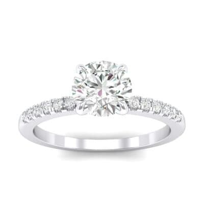 Thin Claw Prong Pave Crystals Engagement Ring (0.6 Carat)
