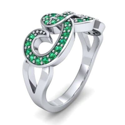 Pave Swirl Emerald Ring (0.38 CTW)