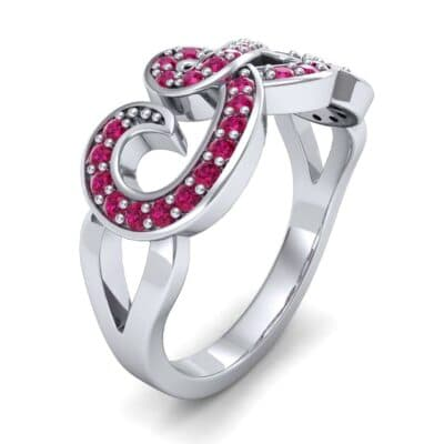 Pave Swirl Ruby Ring (0.38 CTW)