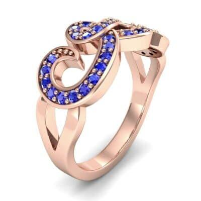 Pave Swirl Blue Sapphire Ring (0.38 CTW)