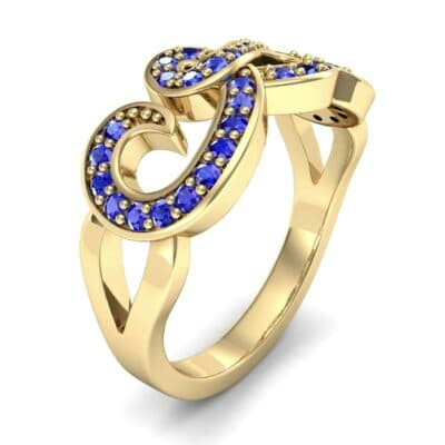 Pave Swirl Blue Sapphire Ring (0.38 CTW) Perspective View