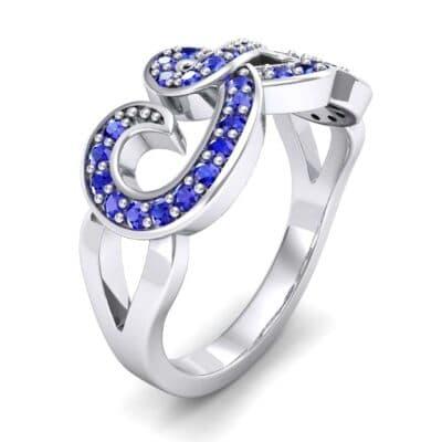 Pave Swirl Blue Sapphire Ring (0.38 Carat)