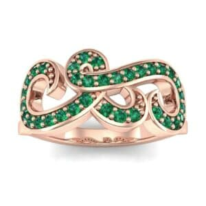 Pave Swirl Emerald Ring (0.38 Carat)