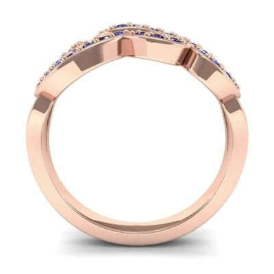 Pave Swirl Blue Sapphire Ring (0.38 CTW) Side View