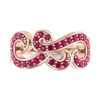 Pave Swirl Ruby Ring (0.38 CTW) Top Flat View