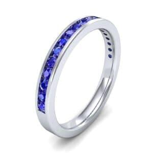 Thin Channel-Set Blue Sapphire Ring (0.38 Carat)