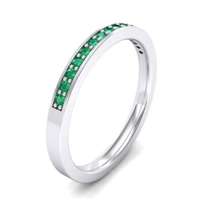 Thin Channel Pave Emerald Ring (0.17 Carat)