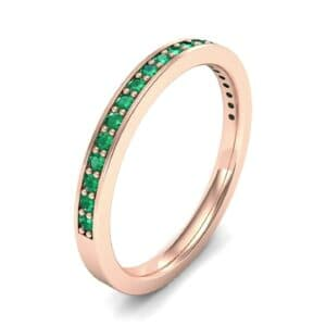 Thin Channel Pave Emerald Ring (0.24 Carat)