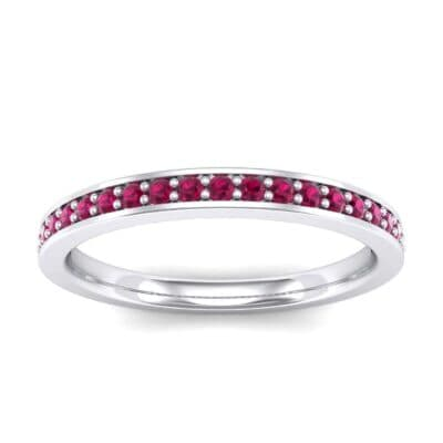 Thin Channel Pave Ruby Ring (0.24 Carat)