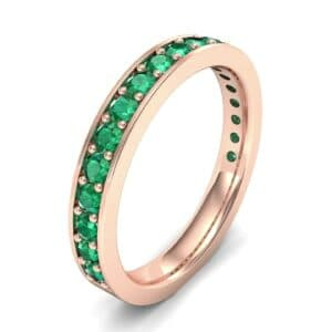 Medium Channel Pave Emerald Ring (0.88 Carat)