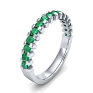 Extra-Thin Square Shared Prong Emerald Ring (0.18 Carat)