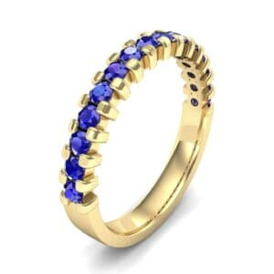 Extra-Thin Square Shared Prong Blue Sapphire Ring (0.18 Carat)