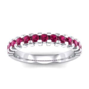 Extra-Thin Square Shared Prong Ruby Ring (0.18 Carat)