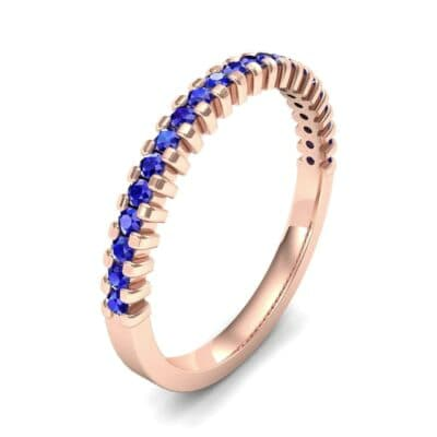 Extra-Thin Square Shared Prong Blue Sapphire Ring (0.24 Carat)