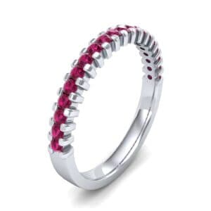 Thin Square Shared Prong Ruby Ring (0.38 Carat)
