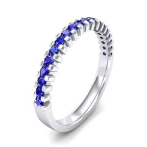 Thin Square Shared Prong Blue Sapphire Ring (0.38 Carat)